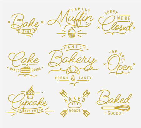 clothed: Flat bakery symbols in vintage style drawing with gold lines on white background
