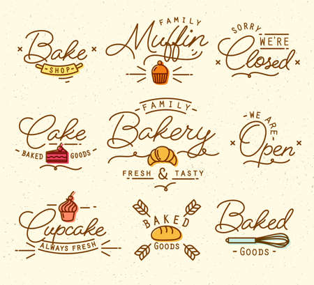 clothed: Flat bakery symbols in vintage style drawing with brown lines on beige background