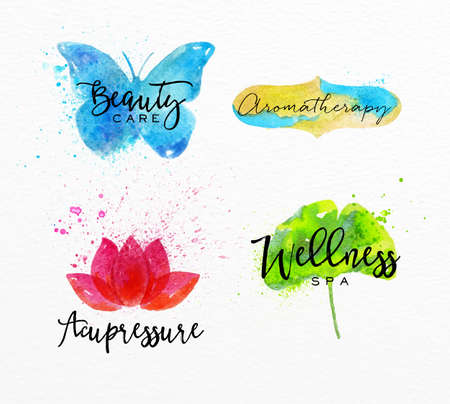 meditation stones: Symbols beauty natural SPA drawing with watercolor, symbol butterfly, lotus, leaf, label Illustration