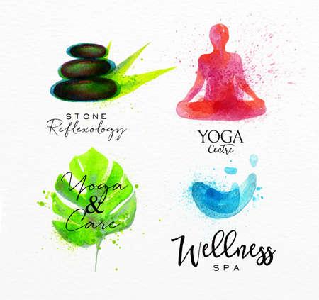 natural beauty: Symbols beauty natural SPA drawing with watercolor, symbol stone, leaf, yoga, water