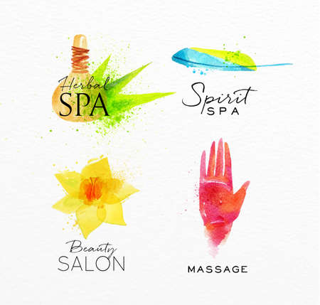meditation stones: Symbols beauty natural SPA drawing with watercolor, symbol herbal spa, flower, hand