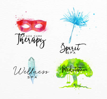 seeds: Symbols beauty natural SPA drawing with watercolor, symbol mask, crystal, tree, dandelion seed