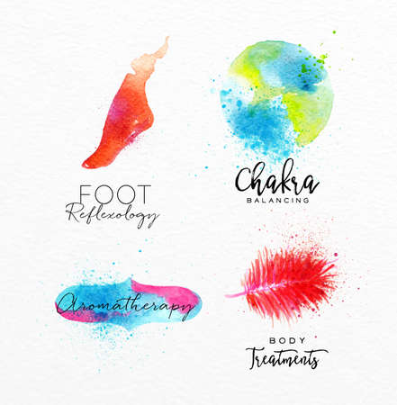 natural beauty: Symbols beauty natural SPA drawing with watercolor, symbol foot, chakra, feather, aromatherapy