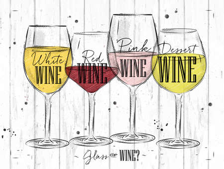 glass bottle: Poster wine types with four main types of wine lettering white wine, red wine, pink wine, dessert wine drawing in vintage style on wood background Illustration