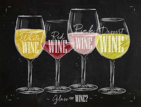 Plakat Weintypen mit vier Hauptarten von Wein Schriftzug Weißwein, Rotwein, rosa Wein, Dessertwein Zeichnung mit Kreide im Vintage-Stil auf Tafel. Vektorgrafik