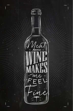 Poster wine bottle lettering meat and wine makes me feel fine drawing in vintage style with chalk on chalkboard background