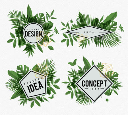 leafs: Frame vector in floral design drawing with green leafs on watercolor paper background