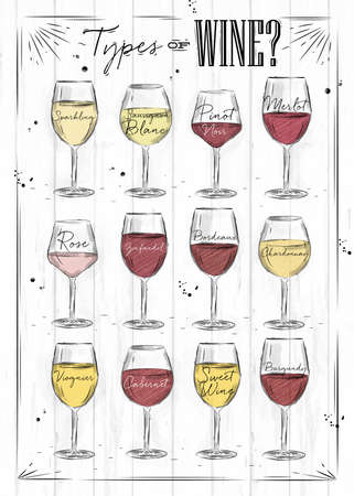 Poster main types of wine sparkling, sauvignon blanc, pinot noir, merlot, rose, zinfandel, bordeaux, chardonnay, viognier, cabernet, burgundy drawing with chalk in vintage style on wood background. Vettoriali