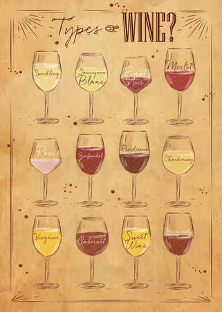 Poster wine types with main types of wine sparkling, sauvignon blanc, pinot noir, merlot, rose, zinfandel, bordeaux, chardonnay, viognier, cabernet, sweet wine, burgundy drawing with chalk in vintage style on kraft background. Illustration
