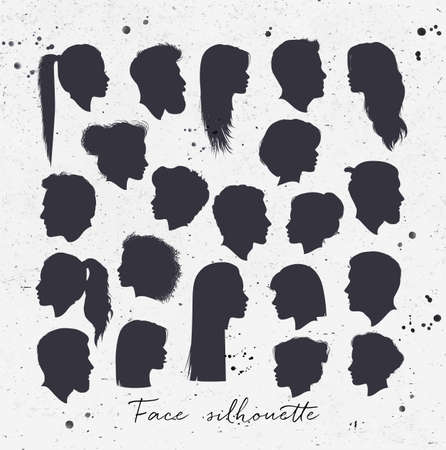 Vector set of female and male silhouettes drawing with black on dirty paper background