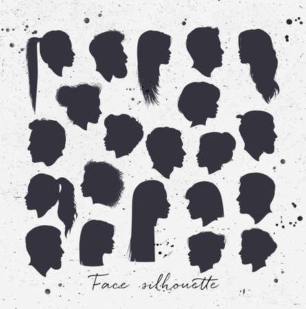 forme: Vector set of silhouettes féminines et masculines dessin noir sur fond sale papier