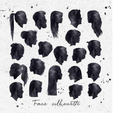 Vector Reihe von weiblichen und männlichen Silhouetten mit schwarzer Tinte auf schmutzigen Papier Hintergrund Zeichnung