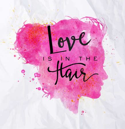 Cartel de naranja cara siluetas amor letras está en el dibujo en el estilo de la vendimia en el fondo de papel arrugado de pelo Ilustración de vector