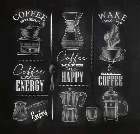 Set of coffee symbols lettering drawing chalk in vintage style on chalkboard