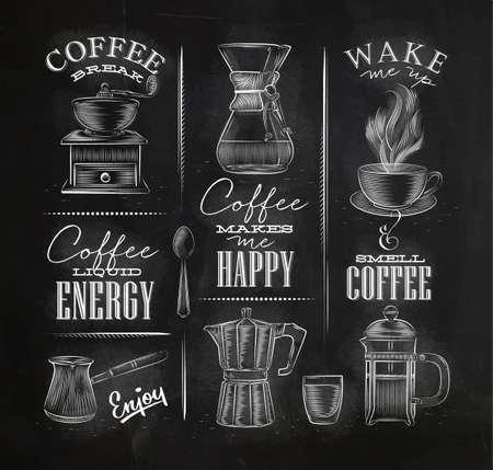 Set Kaffee Symbole Schriftzug Zeichnung Kreide im Vintage-Stil auf Tafel