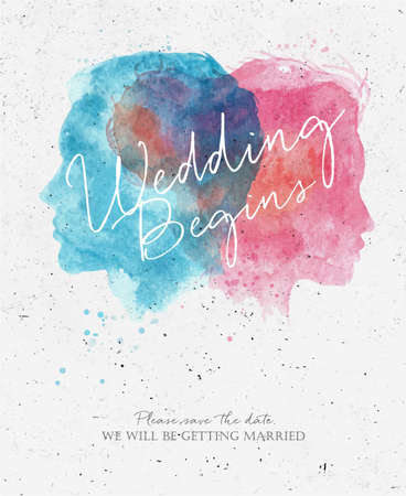 Wedding invitation card lettering please we will be getting married drawing with watercolor male and female silhouettes on dirty paper background