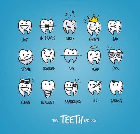귀하의 디자인의 행복 한 치아 문자 집합의 집합입니다. 벡터 만화입니다. 연한 파란색 배경에 드로잉하는 어린이 치과 삽화. 일러스트