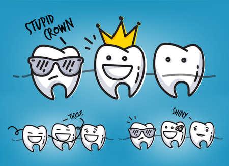 caries dental: Conjunto de pequeñas escenas dientes divertidos personajes, dibujo sobre fondo azul claro.