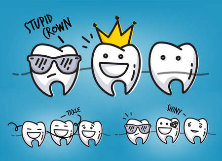 Set of small funny teeth characters scenes, drawing on light blue background. Illustration