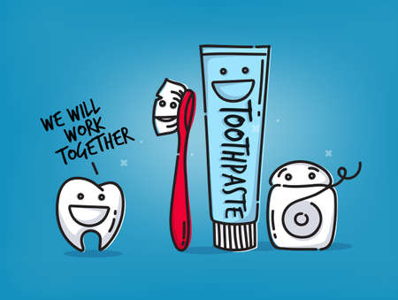Small amusing tooth, toothbrush, dental floss, toothpaste characters scene drawing on light blue background. Illustration