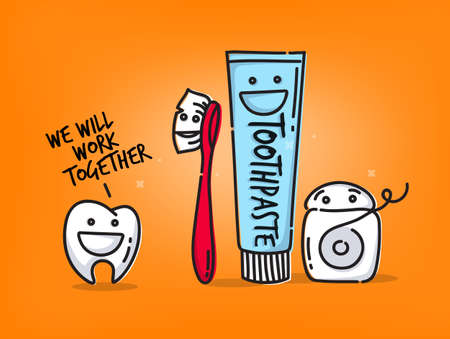 Small amusing tooth, toothbrush, dental floss, toothpaste characters scene drawing on orange background.