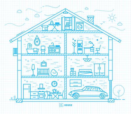 silhouette maison: Grande maison silhouette avec un mobilier de chambres dans le dessin de style plat avec des lignes bleu clair sur carré feuille de papier de fond Illustration