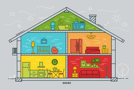 grey house: House silhouette with rooms furnishings in flat style drawing with color lines on grey background Illustration