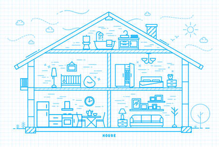 furnishings: House silhouette with rooms furnishings in flat style drawing with light blue lines on squared paper sheet background Illustration