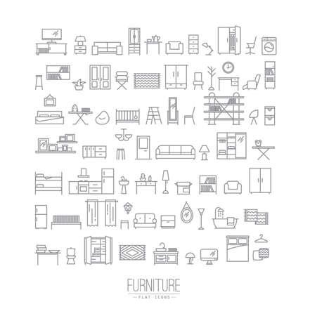 Conjunto de iconos de muebles y decoración para el hogar en dibujo moderno de estilo plano con líneas grises sobre fondo blanco Ilustración de vector