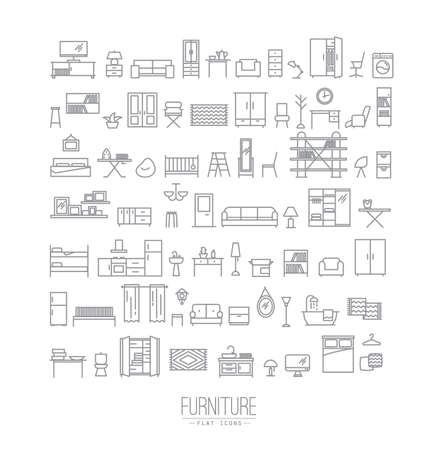 Furniture and home decor icon set in modern flat style drawing with grey lines on white background