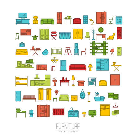 Furniture and home decor icon set in modern flat style drawing with color lines on white background