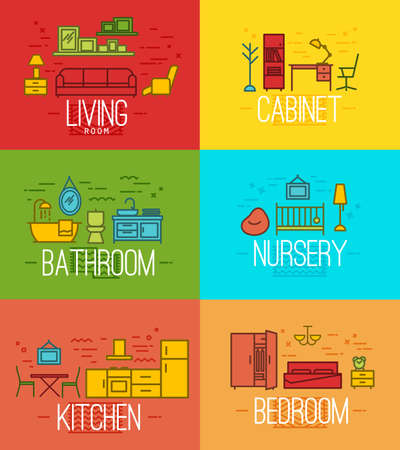 kitchen cabinet: Flat rooms furnishings living room, cabinet, bathroom, nursery, kitchen, bedroom in flat style drawing with color