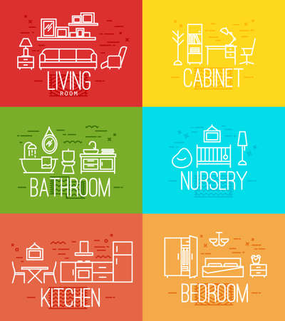 Flat rooms furnishings living room, cabinet, bathroom, nursery, kitchen, bedroom in flat style drawing with white lines on color background