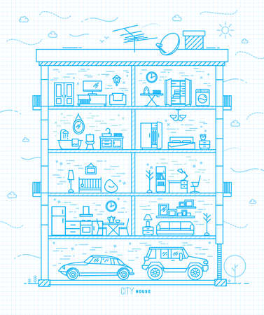 furnishings: City house silhouette with rooms furnishings in flat style drawing with light blue lines on squared paper sheet background