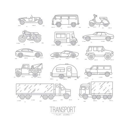 Conjunto de iconos de transporte en coche del estilo plana, moto, camión, scooter de dibujo con líneas grises en el fondo blanco