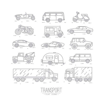 Set of transport icons in flat style car, moto, truck, scooter drawing with gray lines on white background Vectores