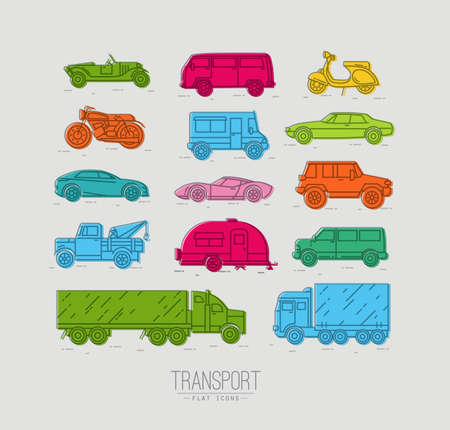 Conjunto de iconos de transporte en coche del estilo plana, moto, camión, scooter de dibujo con el color sobre fondo gris