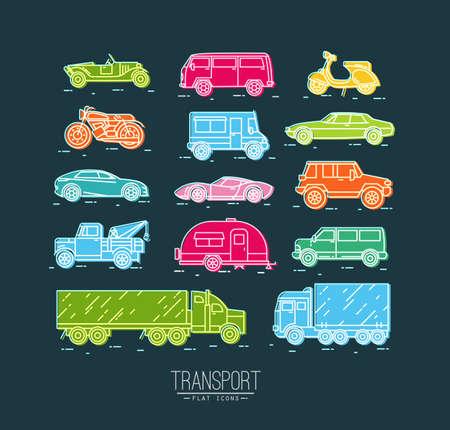 Conjunto de iconos de transporte en coche del estilo plana, moto, camión, scooter de dibujo con el color sobre fondo azul oscuro