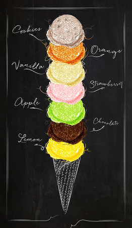 Ice cream cone menu with different kinds of ice cream in retro style lettering i love ice cream drawing with chalk on chalkboard background