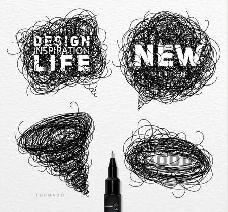 Pen drawing tangle elements chat oval tornado with different inscriptions drawing on paper background Illustration