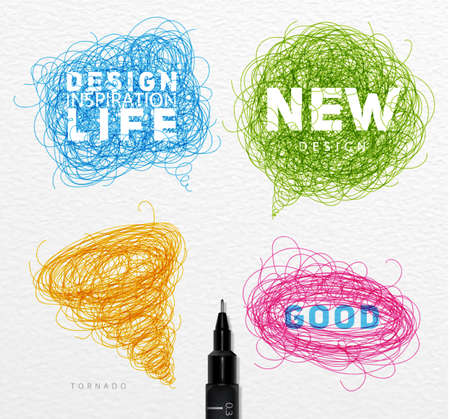 technic: Pen drawing tangle elements chat oval tornado with different inscriptions drawing with color ink on paper background