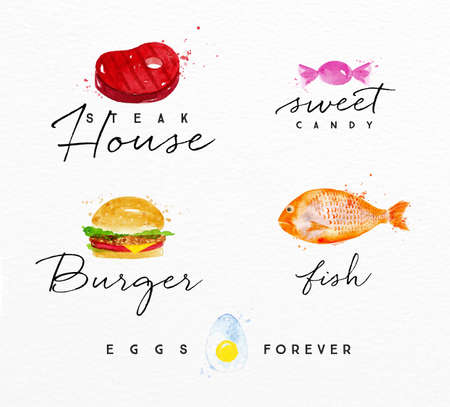 hamburger steak: Set of watercolor labels lettering steak house, sweet candy, burger, fish, eggs forever drawing on watercolor background