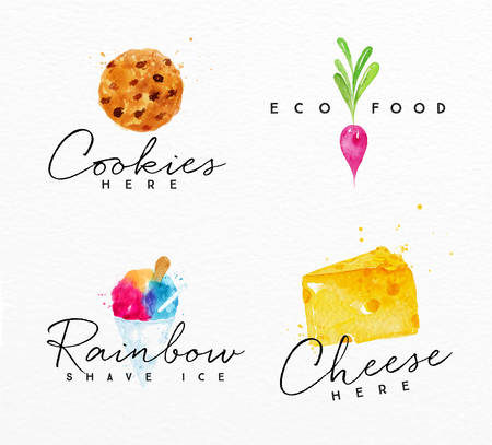 Set of watercolor labels lettering cookies here, eco food, rainbow shave ice, cheese here drawing on watercolor background Illustration