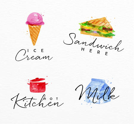 Set of watercolor labels lettering ice cream, sandwich here, hot kitchen, milk drawing on watercolor background