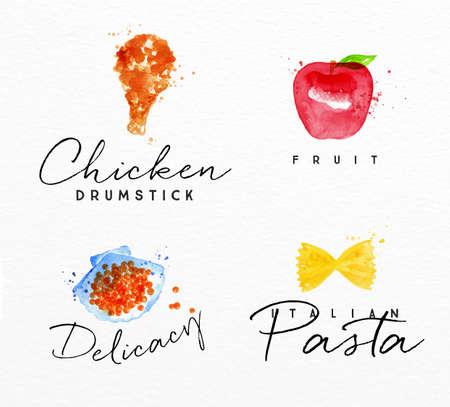 manjar: Conjunto de etiquetas de acuarela de letras muslo de pollo, fruta, delicadeza, dibujo de pasta italiana en el fondo de la acuarela