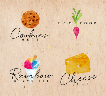 Set of watercolor labels lettering cookies here, eco food, rainbow shave ice, cheese here drawing on background