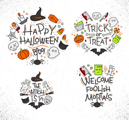 Set of halloween color monograms drawing in flat style on white background.
