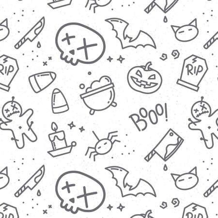 Halloween pattern skull drawing in flat style