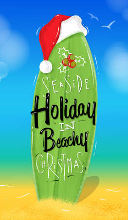 Poster Christmas surfboard lettering seaside holiday in beachy Christmas drawing in beach style