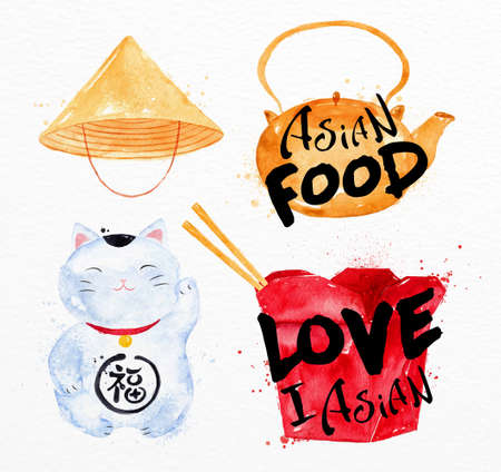 Asia symbols asia hat, asia teapot, box, lucky cat drawing with drops and splash on watercolor paper background Illustration